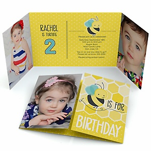 Honey Bee - Personalized Birthday Party Photo Invitations - Set of 12