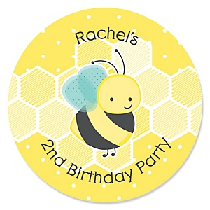 Honey Bee - Personalized Birthday Party Sticker Labels - 24 ct