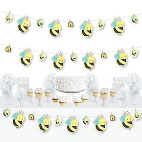 Honey Bee - Baby Shower or Birthday Party DIY Decorations - Clothespin Garland Banner - 44 Pieces