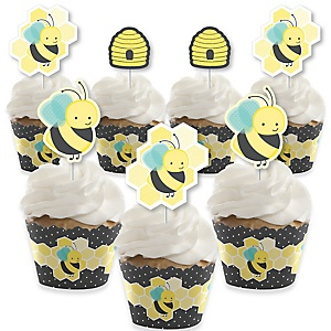 Honey Bee - Cupcake Decoration - Baby Shower or Birthday Party Cupcake Wrappers and Treat Picks Kit - Set of 24
