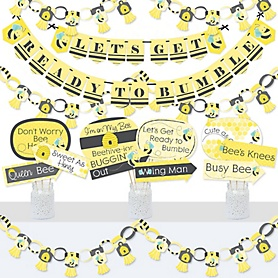 Honey Bee - Banner and Photo Booth Decorations - Baby Shower or Birthday Party Supplies Kit - Doterrific Bundle
