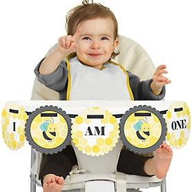 Honey Bee 1st Birthday - I am One - First Birthday High Chair Banner