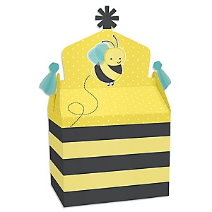 Honey Bee - Treat Box Party Favors - Baby Shower or Birthday Party Goodie Gable Boxes - Set of 12