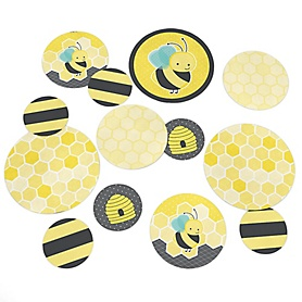 Honey Bee - Baby Shower or Birthday Party Giant Circle Confetti - Bumble Bee Party Decorations - Large Confetti 27 Count