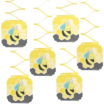 Honey Bee - Birthday Party Hanging Decorations - 6 ct