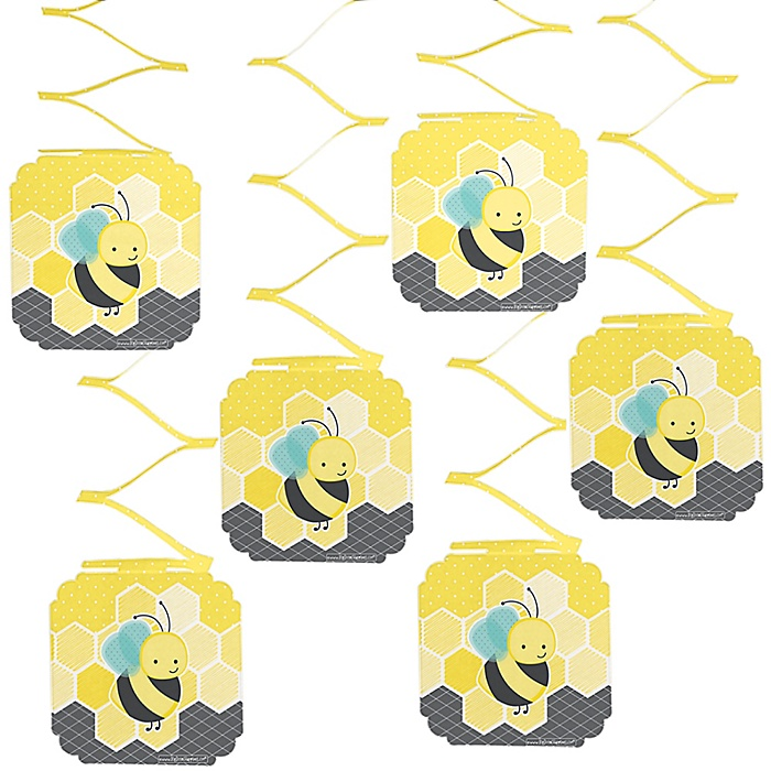 Honey Bee - Baby Shower Hanging Decorations - 6 ct