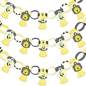 Honey Bee - 90 Chain Links and 30 Paper Tassels Decoration Kit - Baby Shower or Birthday Party Paper Chains Garland - 21 feet
