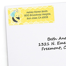 Honey Bee - Personalized Party Return Address Labels - 30 ct