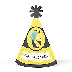 Honey Bee - Personalized Mini Cone Baby Shower or Birthday Party Hats - Small Little Party Hats - Set of 10