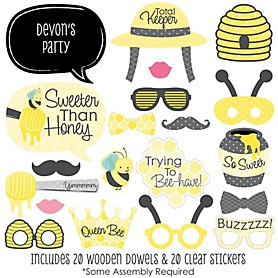 Honey Bee - 20 Piece Baby Shower or Birthday Party Photo Booth Props Kit