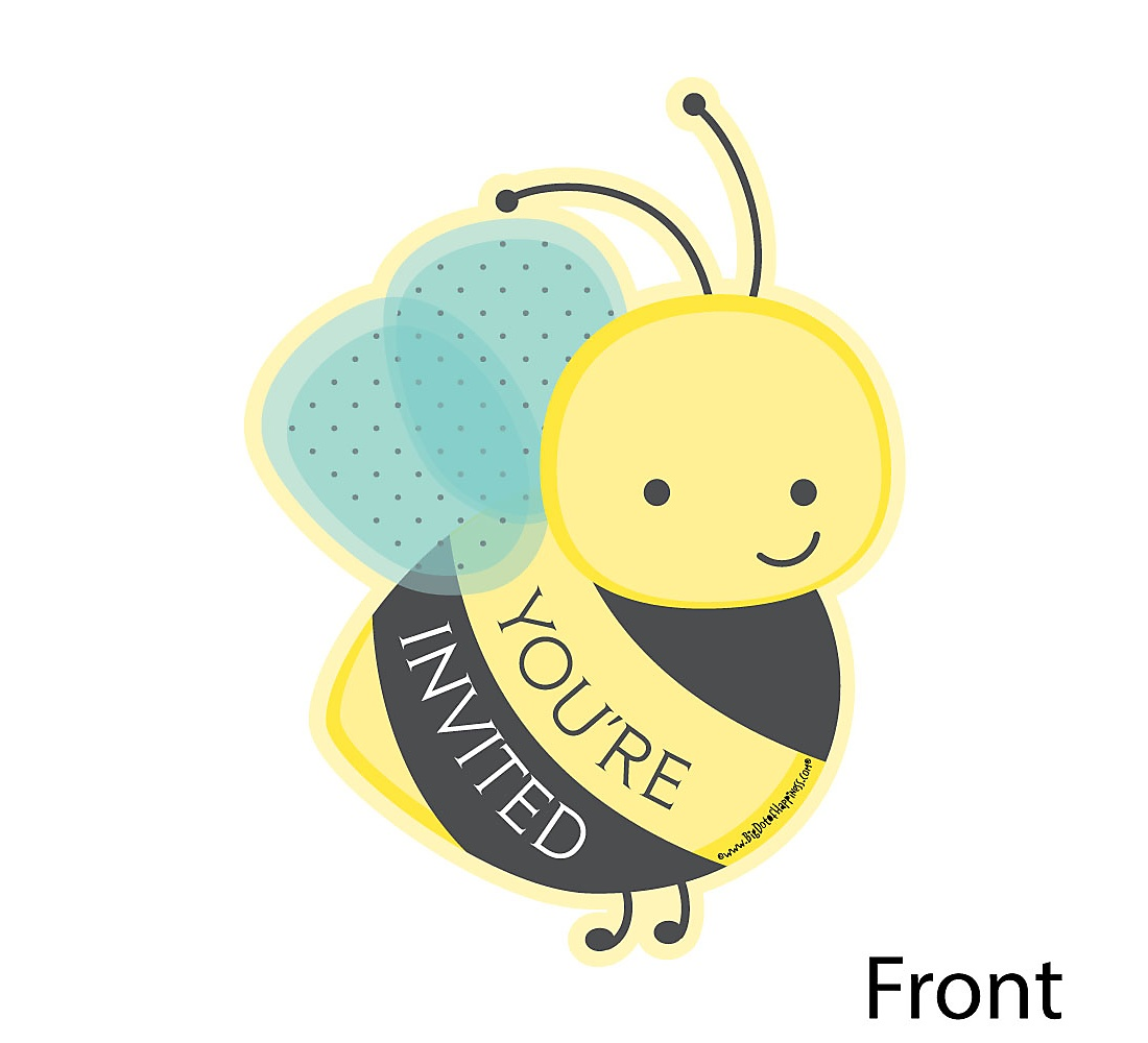 Honey Bee Shaped Fill In Invitations Baby Shower Or Birthday