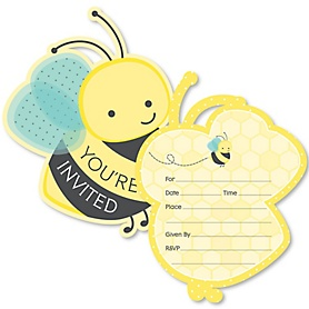 Honey Bee - Shaped Fill-In Invitations - Baby Shower or Birthday Party Invitation Cards with Envelopes - Set of 12
