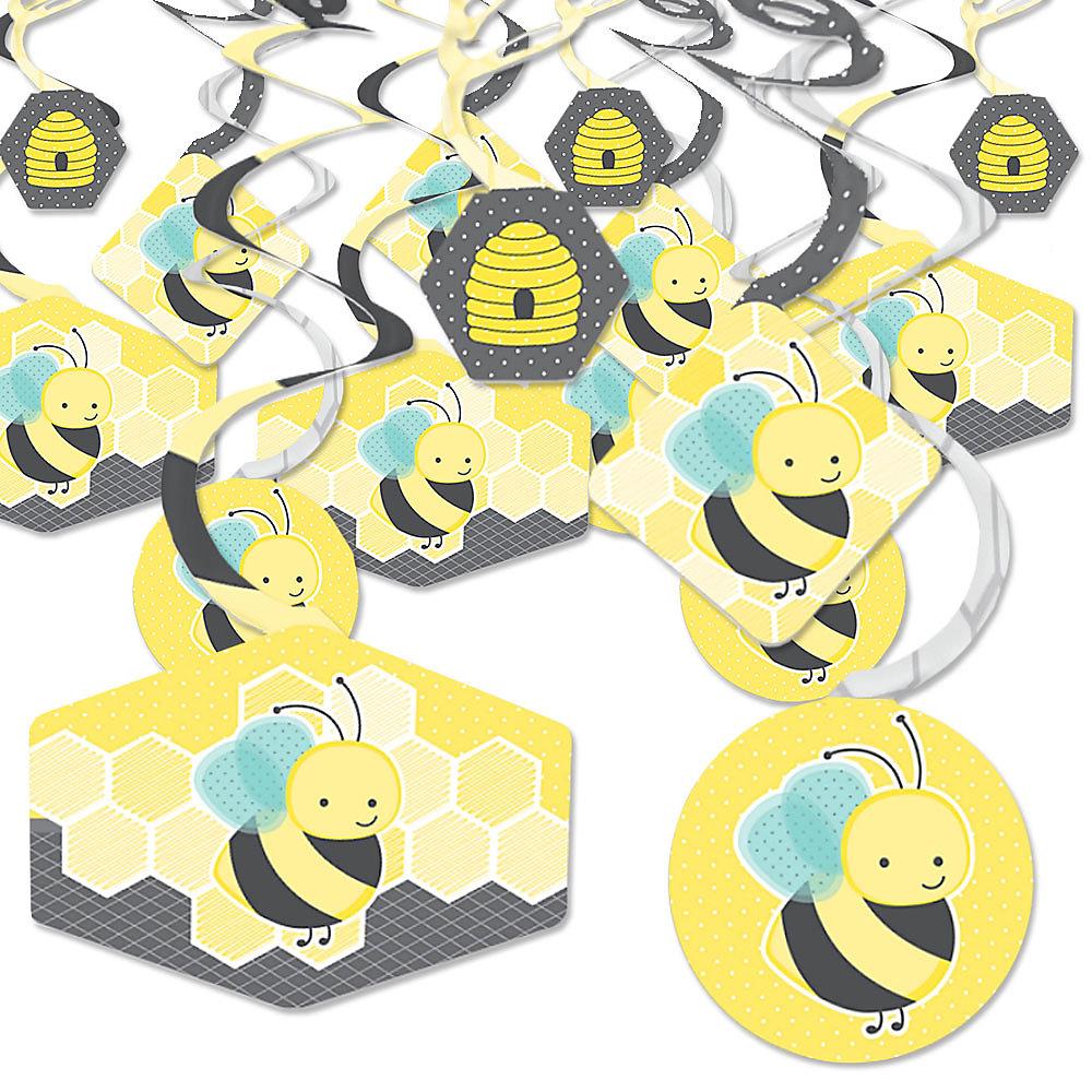 Honey Bee Baby Shower Or Birthday Party Hanging Decor Decoration Swirls Set Of 40