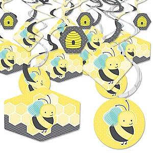 Honey Bee - Baby Shower or Birthday Party Hanging Decor - Party Decoration Swirls - Set of 40