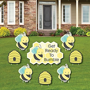 Honey Bee - Yard Sign & Outdoor Lawn Decorations - Baby Shower or Birthday Party Yard Signs - Set of 8