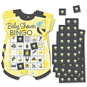 Honey Bee - Picture Bingo Cards and Markers - Baby Shower Shaped Bingo Game - Set of 18