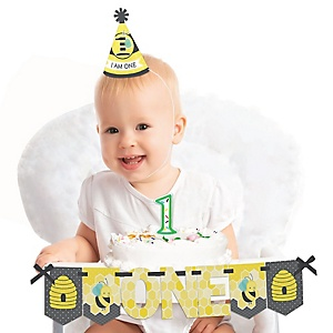 Honey Bee 1st Birthday - First Birthday Boy or Girl Smash Cake Decorating Kit - High Chair Decorations