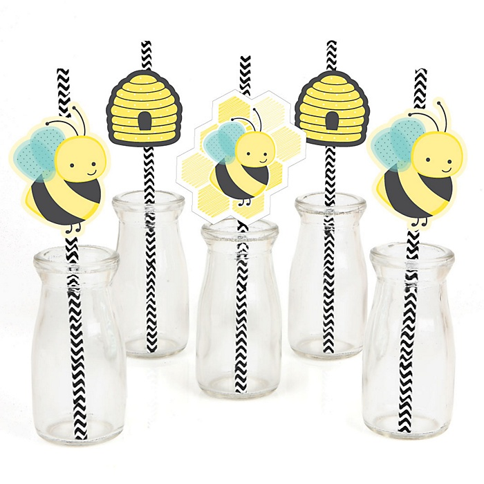 Honey Bee - Paper Straw Decor - Baby Shower or Birthday Party Striped Decorative Straws - Set of 24