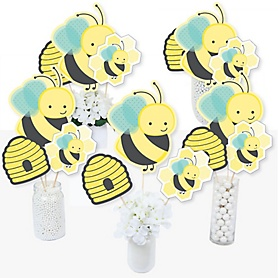 Honey Bee - Baby Shower or Birthday Party Centerpiece Sticks - Table Toppers - Set of 15