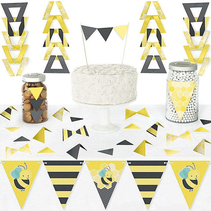 Honey Bee - DIY Pennant Banner Decorations - Baby Shower or Birthday Party Triangle Kit - 99 Pieces