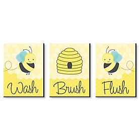 Honey Bee - Kids Bathroom Rules Wall Art - 7.5 x 10 inches - Set of 3 Signs - Wash, Brush, Flush