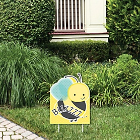 Honey Bee - Outdoor Lawn Sign - Baby Shower or Birthday Party Yard Sign - 1 Piece