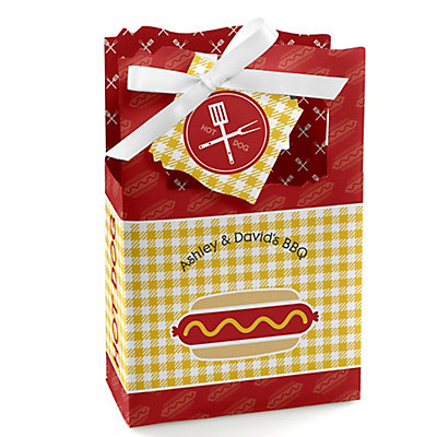 summer bbq hot diggity dog personalized everyday party favor boxes. Black Bedroom Furniture Sets. Home Design Ideas