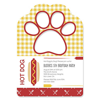 summer bbq hot diggity dog paw shaped personalized dog party invitations bigdotofhappinesscom - Dog Party Invitations