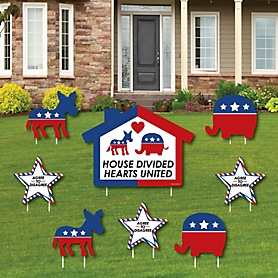 House Divided - Yard Sign and Outdoor Lawn Decorations - Democrat and Republican Political 2020 Election Party Yard Signs - Set of 8
