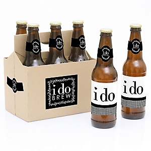 I Do - Wedding - Decorations for Women and Men - 6 Beer Bottle Label Stickers and 1 Carrier