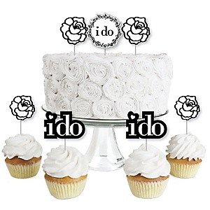 I Do - Dessert Cupcake Toppers - Wedding or Bridal Shower Party Clear Treat Picks - Set of 24