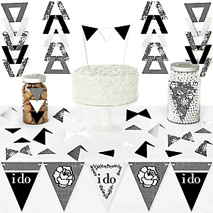 I Do - DIY Pennant Banner Decorations - Wedding or Bridal Shower Triangle Kit - 99 Pieces