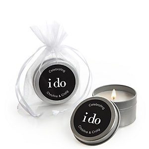 I Do - Personalized Wedding Candle Tin Favors - Set of 12