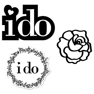 I Do - DIY Shaped Wedding Paper Cut-Outs - 24 ct