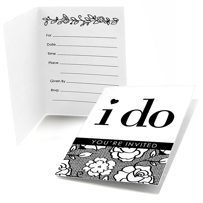I Do - Bridal Shower Fill In Invitations - 8 ct