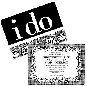 I Do - Shaped Wedding Invitations - Set of 12