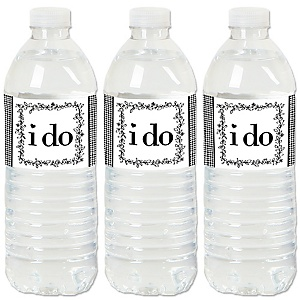 I Do - Wedding or Bridal Shower Water Bottle Sticker Labels - Set of 20