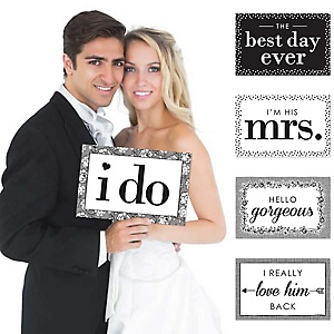 I Do - Wedding Announcement Photo Prop Kit - 10 Count