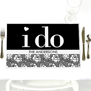 I Do - Party Table Decorations - Personalized Wedding Placemats - Set of 12