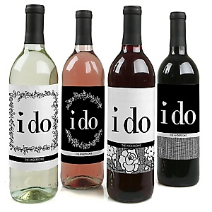 I Do - Wedding Decorations for Women and Men - Wine Bottle Label Stickers - Set of 4