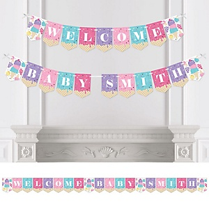 Scoop Up The Fun - Ice Cream - Personalized Sprinkles Baby Shower Bunting Banner and Decorations