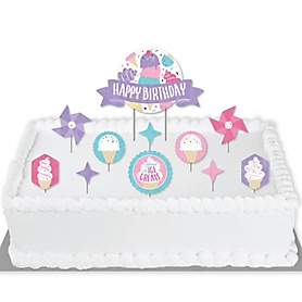 Scoop Up The Fun - Ice Cream - Sprinkles Birthday Party Cake Decorating Kit - Happy Birthday Cake Topper Set - 11 Pieces