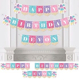 Scoop Up The Fun - Ice Cream - Personalized Sprinkles Birthday Party Bunting Banner and Decorations