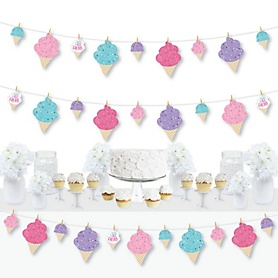 Scoop Up The Fun - Ice Cream - Sprinkles Party DIY Decorations - Clothespin Garland Banner - 44 Pieces