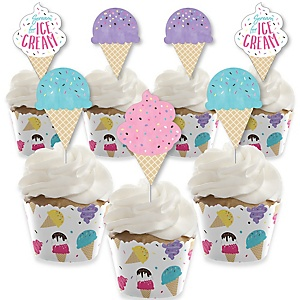 Scoop Up The Fun - Ice Cream - Cupcake Decoration - Sprinkles Party Cupcake Wrappers and Treat Picks Kit - Set of 24