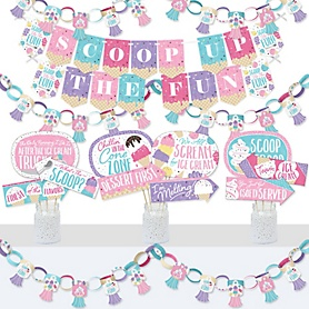 Scoop Up The Fun - Ice Cream - Banner and Photo Booth Decorations - Sprinkles Party Supplies Kit - Doterrific Bundle