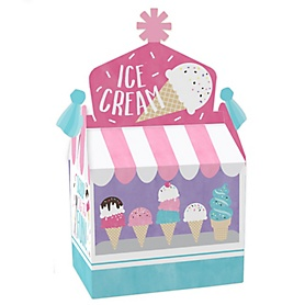 Scoop Up The Fun - Ice Cream - Treat Box Party Favors - Sprinkles Party Goodie Gable Boxes - Set of 12