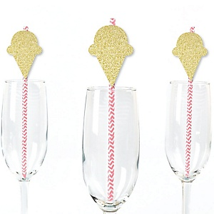 Gold Glitter Ice Cream Cone Party Straws - No-Mess Real Gold Glitter Cut-Outs and Decorative Sprinkles Party Paper Straws - Set of 24