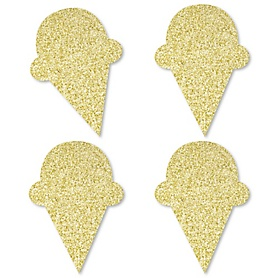 Gold Glitter Ice Cream Cone - No-Mess Real Gold Glitter Cut-Outs - Sprinkles Party Confetti - Set of 24