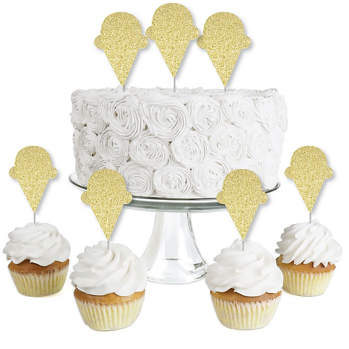 Gold Glitter Ice Cream Cone - No-Mess Real Gold Glitter Dessert Cupcake Toppers - Sprinkles Party Clear Treat Picks - Set of 24